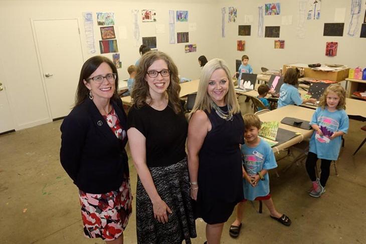 Julia Kirt, Kelsey Karper, and Deborah McAuliffe at an Oklahoma Contemporary summer art camp, Friday, June 23, 2017. - GARETT FISBECK