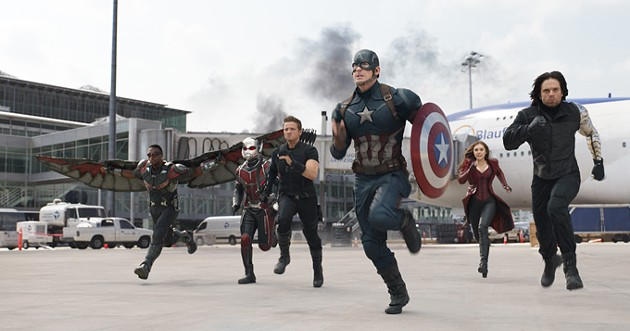 Marvel's Captain America: Civil War - L to R: Falcon/Sam Wilson (Anthony Mackie), Ant-Man/Scott Lang (Paul Rudd), Hawkeye/Clint Barton (Jeremy Renner), Captain America/Steve Rogers (Chris Evans), Scarlet Witch/Wanda Maximoff (Elizabeth Olsen), and Winter Soldier/Bucky Barnes (Sebastian Stan) - Photo Credit: Film Frame - © Marvel 2016