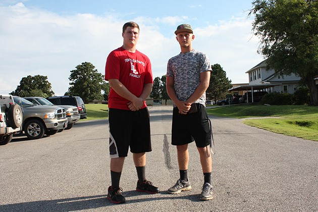 Blake Christy left and Chad Pridemore at Luther's South Cedar Street. The two highschoolers - are leaders on the Luther Lions football team | Photo Laura Eastes