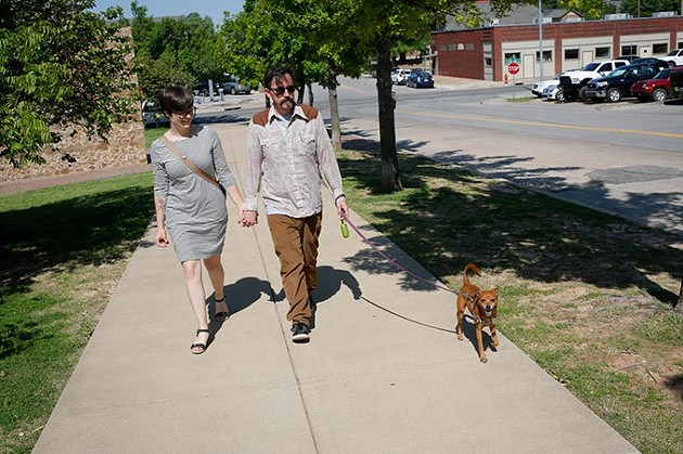 Marty Peercy and JoBeth Hamon walk their dog, DJ, Monday, May 8, 2017.  Hamon adopted DJ through Safe Haven. - GARETT FISBECK