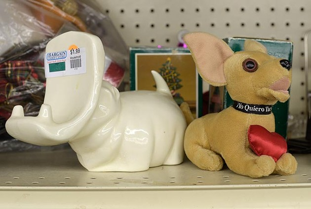 Hippo cardholder and Taco Bell dog at Bargain Thrift, Monday, March 6, 2017. - GARETT FISBECK