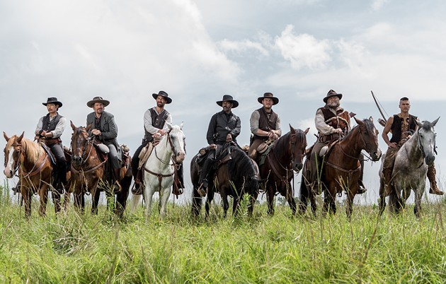 (l to r) Byung-hun Lee, Ethan Hawke, Manuel Garcia-Rulfo, Denzel Washington, Chris Pratt, Vincent D'Onofrio and Martin Sensmeier in Metro-Goldwyn-Mayer Pictures and Columbia Pictures' THE MAGNIFICENT SEVEN. - SAM EMERSON