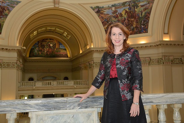 Danielle Ezell, Oklahoma Women's Coalition, poses for a photo at the Oklahoma State Capitol, Friday, Dec. 16, 2016. - GARETT FISBECK