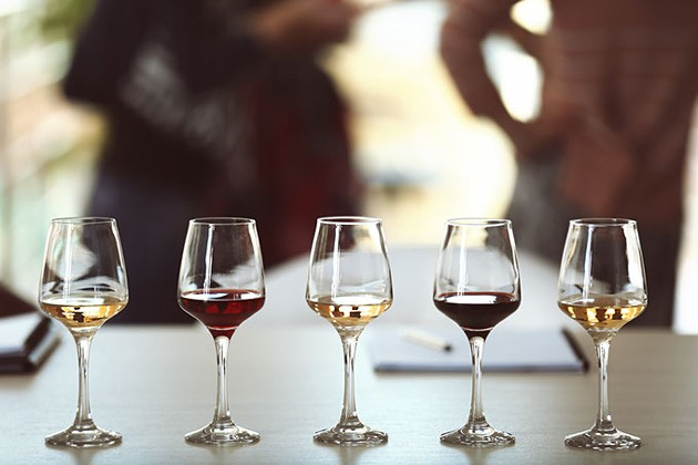 Many glasses of different wine in a row on a table. Tasting wine concept - BIGSTOCK