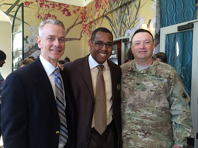 Eran Harrill center at a Black Chamber of Commerce Metro Oklahoma City event with U.S. Rep. Steve Russell left and Col. Bobby Yandell.   Photo provided