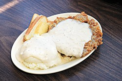 Chicken fried steak dinner with mashed potatoes at Chuck House in Oklahoma City, Tuesday, June 7, 2016.  (Garett Fisbeck)
