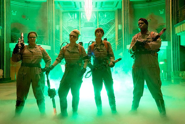 The Ghostbusters Abby (Melissa McCarthy), Holtzmann (Kate McKinnon), Erin (Kristen Wiig) and Patty (Leslie Jones) inside the Mercado Hotel Lobby in Columbia Pictures' GHOSTBUSTERS. - HOPPER STONE, SMPSP