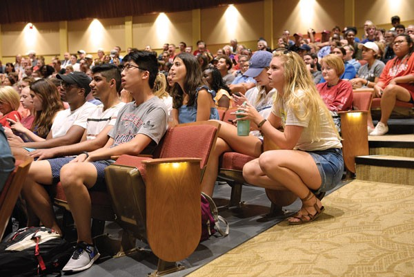 University of Oklahoma students, faculty and staff gathered inside one of the university's theaters to watch President David Boren's announcement about the school's future. Boren announced his plans to retire, effective June 30, 2018. | Photo Garett Fisbeck
