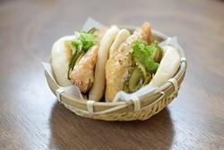 Pork belly nikuman at Gor? Ramen + Izakaya Thursday, Feb. 16, 2017. - GARETT FISBECK