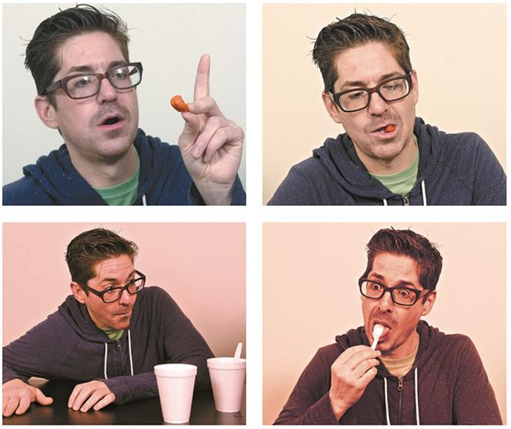Matthew Alvin Brown tastes a raw ghost pepper and Carolina Reaper chile powder. (Garett Fisbeck)
