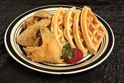 Wings and waffles at Aja Bleu Cafe in Oklahoma City, Wednesday, Oct. 19, 2016. - GARETT FISBECK