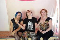 Kelsey Birnbaum, Elecktra Stanislava and Davil Dee pose for a photo at The Unkempt Beaver, Monday, May 8, 2017. - GARETT FISBECK