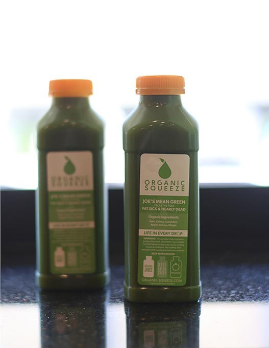 """""""Joe's Mean Green"""" cold-pressed juice at Organic Squeeze. (Cara Johnson)."""