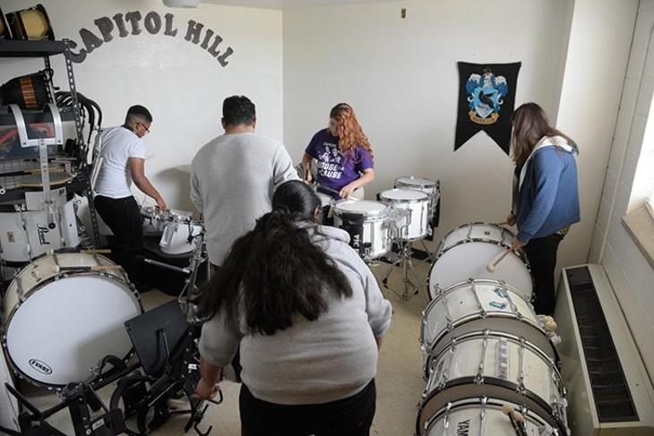 Drummer rehearse at Capitol Hill High School, Tuesday, Oct. 25, 2016. - GARETT FISBECK