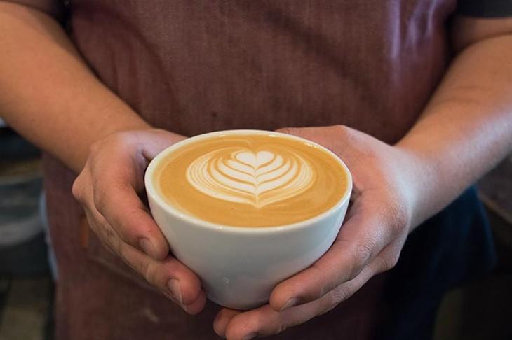 Finished latte art at Elemental Coffee, Monday, May 15, 2017. - CARA JOHNSON