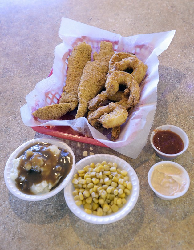 Number 19 combo with mashed potatoes and corn at Sam's Southern Eatery in Oklahoma City, Wednesday, Dec. 28, 2016. - GARETT FISBECK