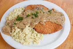 Jägerschnitzel mit Pilzrahmsauce, Spätzle at Royal Bavaria in Moore, Wednesday, Oct. 12, 2016. - GARETT FISBECK