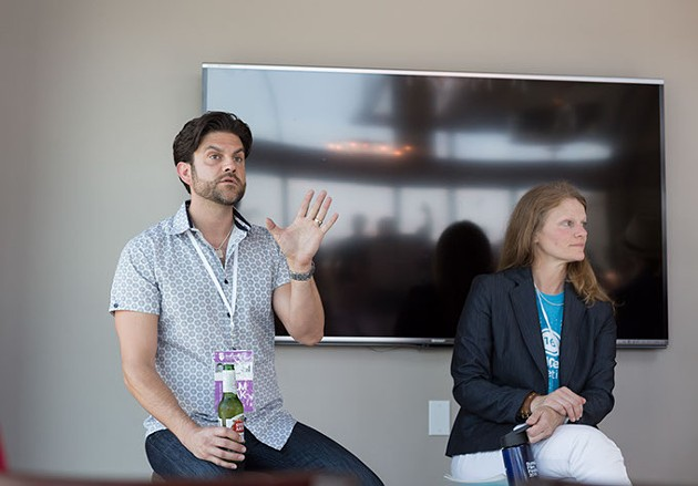 Kristofer McNeeley and Tava Maloy Sofsky talk to attendees a the Making Movies in Oklahoma Panel which was held at the Clark Building in Oklahoma City, Friday, June 10, 2016. - EMMY VERDIN