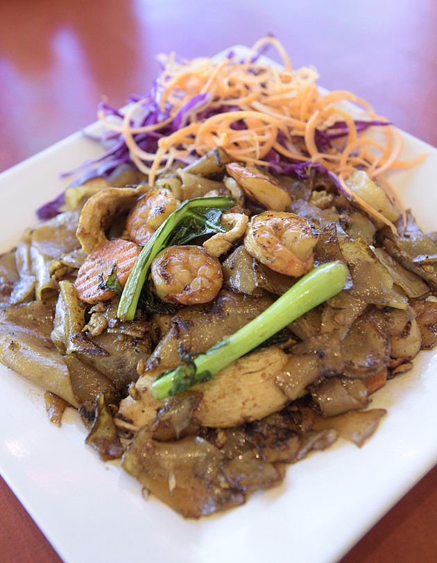 Shrimp and chicken pad see ew at Thai or Pho in Yukon, Tuesday, Dec. 27, 2016. - GARETT FISBECK