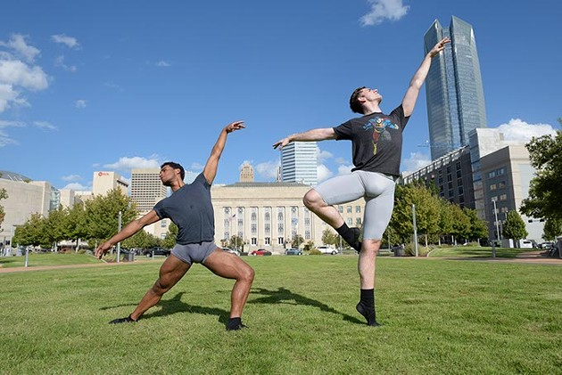 OKC Ballet dancers Jefferson Payne and Dave Naquin pose for a photo outside the Civic Center Music Hall, Wednesday, Sept. 7, 2016. - GARETT FISBECK