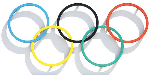 Kiel, Germany - June 4, 2016:  Olympic rings at Kiel Schilksee Olympic Centre. In 1972 Olympic games held in Munich and Kiel hosted the Olympic sailing competitions - BIGSTOCK.COM