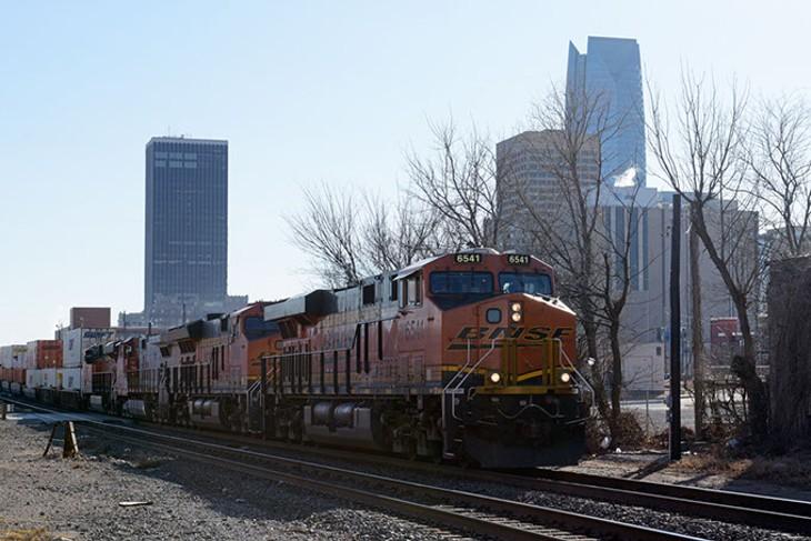 A train rolls through Oklahoma City, Wednesday, Jan. 4, 2017. - GARETT FISBECK