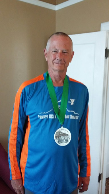Nels Bentson after the Whiskey Row Marathon in Prescott, Arizona. Arizona is the 48th state in which he has run a marathon.   Photo provided