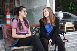 From left, Teens Katia Harm and Zoe White recall their first time hearing about sex from adults four years ago. (Laura Eastes)