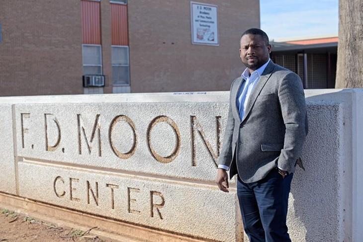 Sandino Thompson, community member on OKCPS Northeast Task Force, poses for a photo at F.D. Moon, Friday, Feb. 17, 2017. - GARETT FISBECK