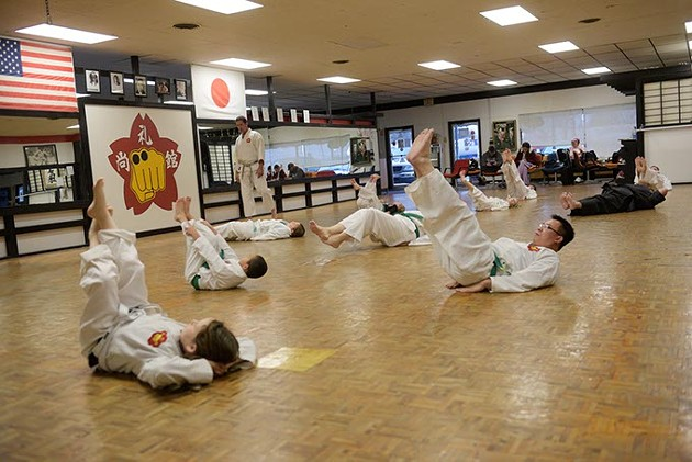 A class does exercises at Chris Fay's Okinawa Karate School. (Garett Fisbeck)