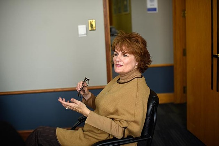 Vicki Behenna, executive director, talks about The Oklahoma Innocence Project at the Oklahoma City University School of Law, Monday, April 18, 2016. - GARETT FISBECK