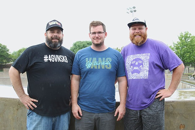 Forgiven Skate Church's annual skate contest organizers Darrin Zdanowski, left, Israel Brumback and Kyle Upton stand at the edge of the bowl in the rain at Matt Hoffman Action Sports Park on Saturday, June 3, 2017. The contest, Bowl Part 2, was rained out and reschedules for Fall 2017. (Cara Johnson).