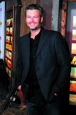 """LOS ANGELES - NOV 30:  Blake Shelton at the """"The Ridiculous 6"""" Los Angeles Premiere at the AMC Universal City Walk on November 30, 2015 in Los Angeles, CA - BIGSTOCK"""