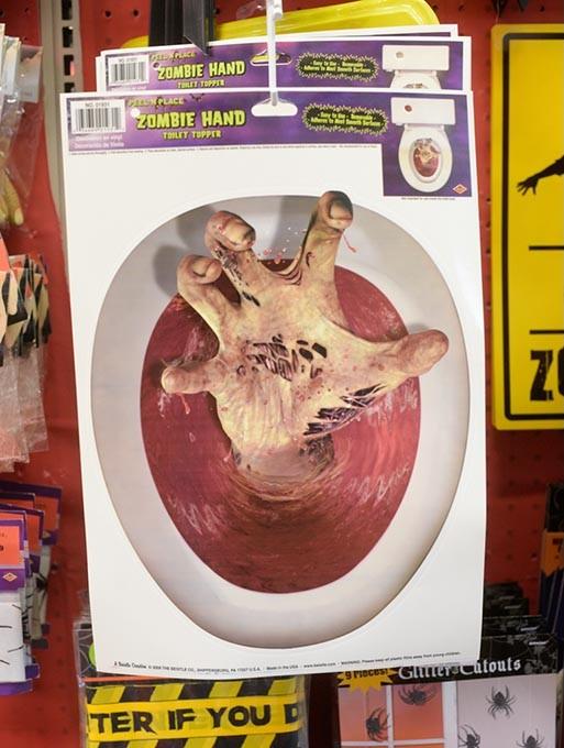 Zombie hand toilet topper at Party Galaxy. (Garett Fisbeck)