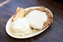 Chicken fried steak dinner with mashed potatoes at Chuck House in Oklahoma City, Tuesday, June 7, 2016. - GARETT FISBECK