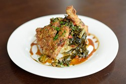 Five-spice fried chicken with mashed potatoes and greens (Garett Fisbeck)
