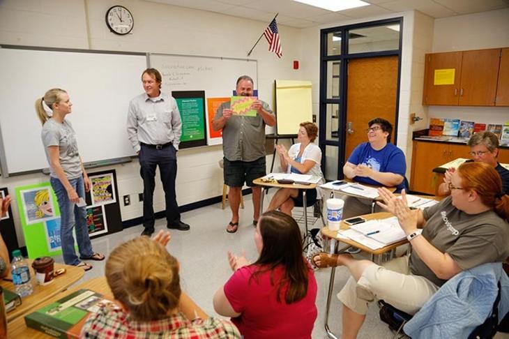 A group makes a presentation during Great Expectations at Edmond North High School, Thursday, June 23, 2016. - GARETT FISBECK