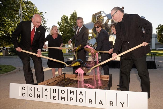 Leaders and supporters of Oklahoma Contemporary, including Christian Keesee center move - ground where the organization's new arts - campus will be in Automobile Alley.   Photo Garett Fisbeck