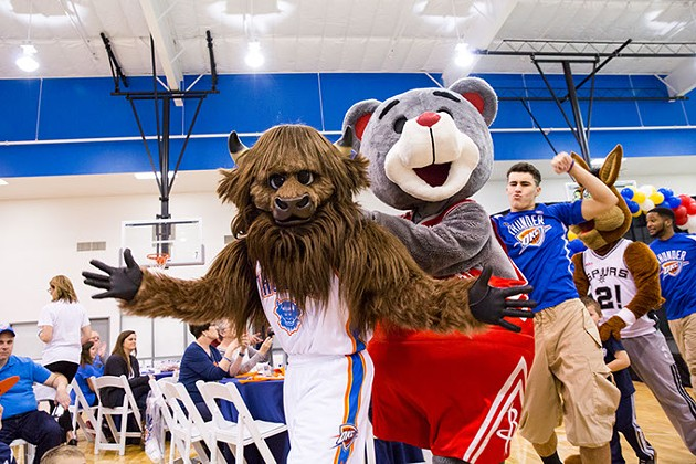 Six mascots join Rumble at this year's Breakfast with Rumble fundraiser. | Photo Zach Beeker / Oklahoma City Thunder / provided - ZACH BEEKER