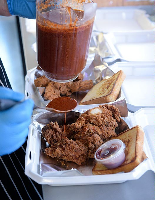 Hot chicken at Chef Ray's Street Eats, Wednesday, March 1, 2017. - GARETT FISBECK