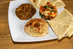 Hummus, Zaalook, Morocan Salad combo at Couscous Cafe, 6165 N. May Avenue, Oklahoma City, 8-26-2016. - MARK HANCOCK