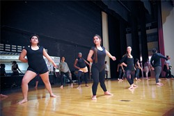 Students in Capitol Hill's Dance Diversity Company practice a piece for a spring contest.   Photo Laura Eastes