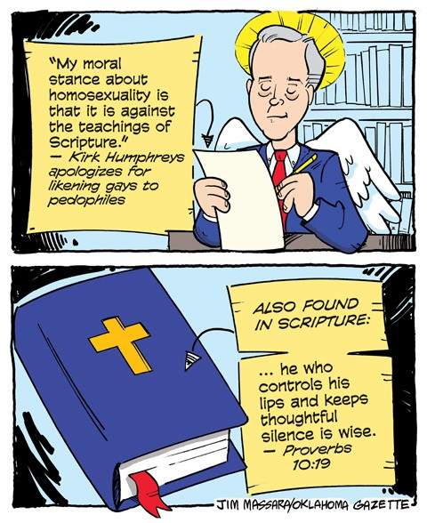 Cartoon: Kirk Humphreys cites Scripture