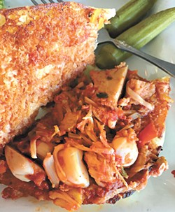 """The jackfruit pulled """"pork"""" sandwich with a side of steamed broccoli (Photo Jacob Threadgill)"""