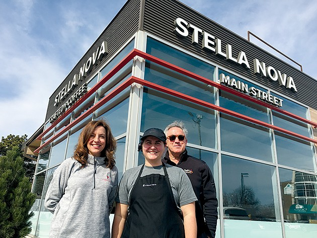 from left Co-owner Kelli Lay, supervisor Lydia Rice and co-owner John Kennedy stand outside the first Stella Nova in Norman. - PHOTO JACOB THREADGILL