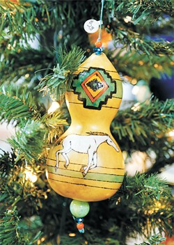 Trees are decorated with ornaments from 19 tribes in Oklahoma. A separate tree includes ornaments for sale.   Photo Doug Hoke / Red Earth / provided