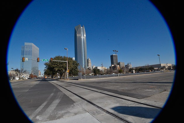 Streetcar tracks laid in downtown Oklahoma City are part of the MAPS 3 initiative to bring a streetcar transit system to the city. (Photo Laura Eastes)
