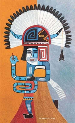 "Michael Kabotie's ""Guardian of the Water"" is included in Generations in Modern Pueblo Painting at OU's Fred Jones Jr. Museum of Art. 