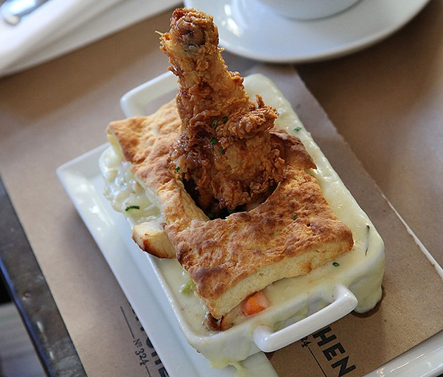 The fried chicken pot pie has only a pastry topping. (Photo provided)