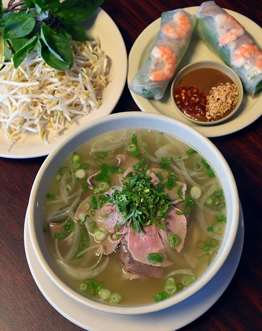 P1, Rice Noodle Soup with steak, Brisket, Tripe, Tendon, Flank and Fatty Flank at Pho Hieu, 11-5-15. - MARK HANCOCK